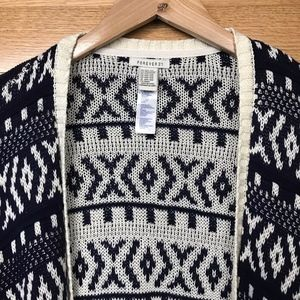 Navy and Off-White Knit Poncho